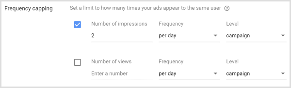 set frequency capping for google adwords