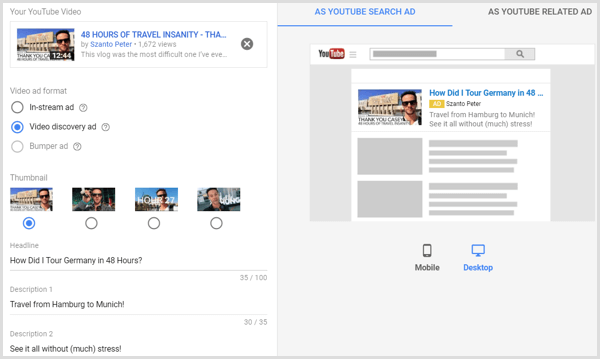 Create Custom Youtube Video Ad