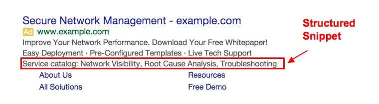 Structured Snippets Extension